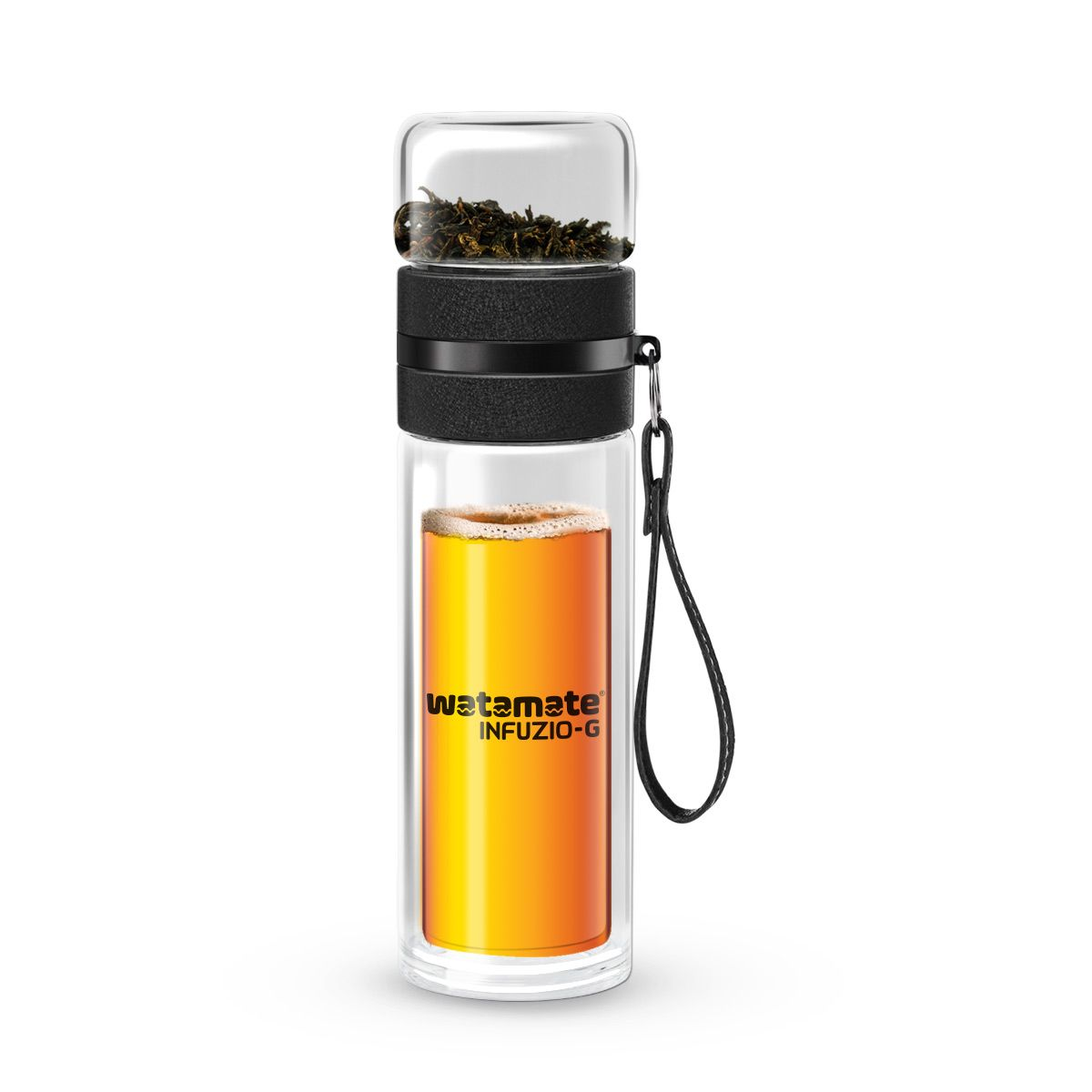 Watamate Infuzio-G Double-Wall Glass Infuser Bottle for Green Tea or Fruit Infusion Drinks (300ml)